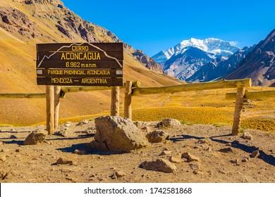 "Spanish text ""aconcagua hill"", mendoza province, argentina"