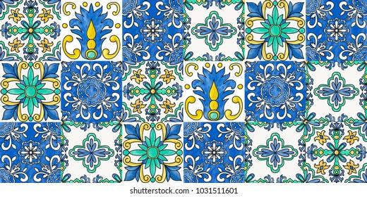 Spanish tiles, seamless flourish pattern in traditional style
