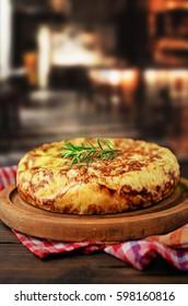 Spanish tortilla in restaurant.
