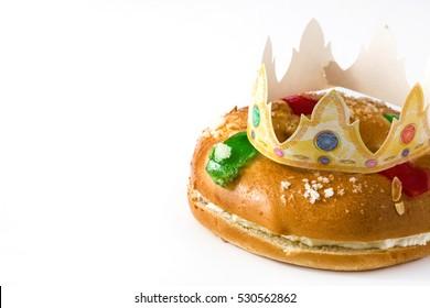 "Spanish typical dessert of epiphany ""Roscon de Reyes"", isolated on white background"