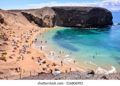 Spanish View Landscape in Papagayo Playa Blanca Lanzarote Tropical Volcanic Canary Islands Spain