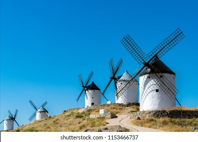 Spanish windmills, like those described in Cervantes's Don Quixote