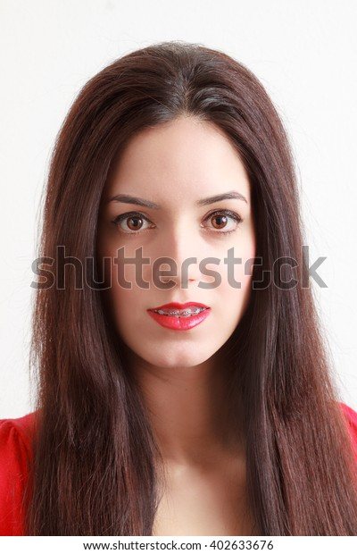 Spanish Woman Braces On Her Teeth Stock Photo (Edit Now