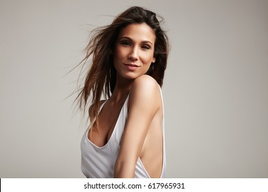 spanish woman's portrait in studio shoot