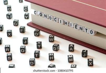 spanish word conocimiento meaning knowledge written with letters trapped between a book files and spread letters on white background concept abstract