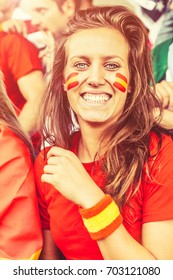 Spanish Young Woman Fan, Soccer Championship