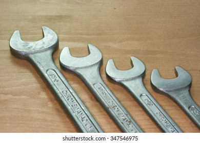 Spanners on Wood Bench