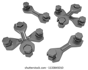 Spanners short segments with bolts, 3d illustration, horizontal, isolated, over white
