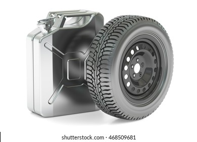 Spar wheel and canister, 3D rendering isolated on white background