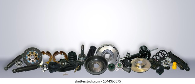 Spare parts car on the grey background set. Many auto parts are located on the edge of the image. OEM parts, auto parts for customer.
