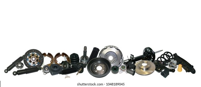 Spare parts car on the white background set. Many auto parts are located on the edge of the image. OEM parts, auto parts for customer.