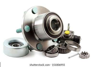 Spare parts for cars on a white background