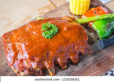 Spare ribs barbecue.