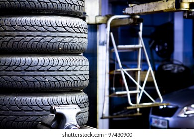 Spare tires in the mechanic shop