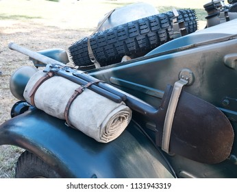 The spare tyre of old all-terrain vehicle