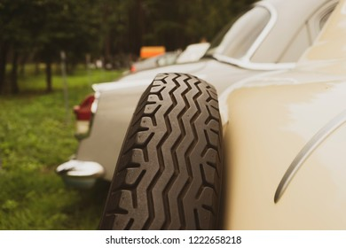 Spare wheel in a vintage car