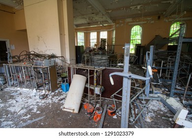 Spares room at an abandoned and derelict lunatic asylum/hospital (now demolished), Cane Hill, Coulsdon, Surrey, England, UK