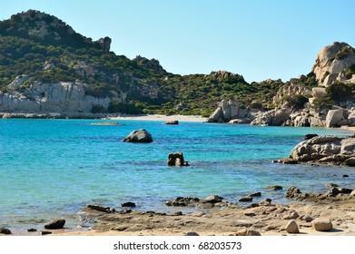 Spargi Island in mediterranean sea