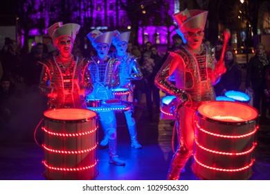 Spark Drummers at Light Up Cheltenham, Gloucestershire,UK on 10/01/2018