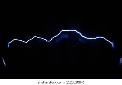 Spark electric discharges obtained with the help of an electrophoresis machine. The image is used to study the physical phenomenon