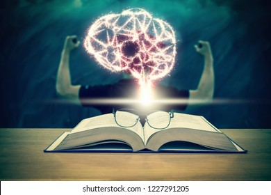 sparkle of brain shape of an artificial intelligence over the Graduation cap with glasses over the Books on the desk in class room with black board background,Education and AI concept