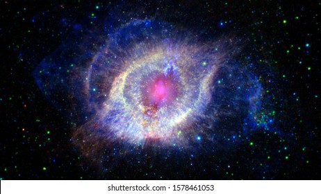 Sparkle shinny blue star particle motion on black background, starlight nebula in galaxy at universe. Space background. Elements of this image furnished by NASA