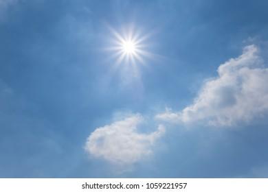 sparkle sun on a blue sky cloudy background