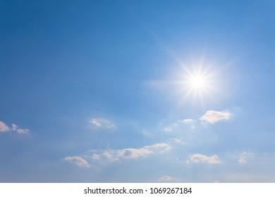 sparkle sun on a blue sky background