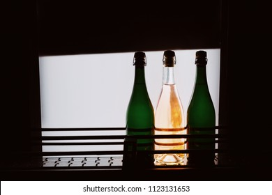 Sparkle Wine bottles on the check stand