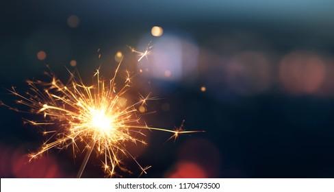 Sparkler with bokeh light background
