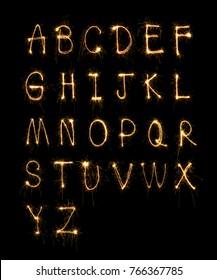 sparkler firework light alphabet?26 English letters