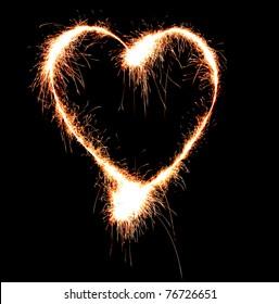 Sparkler heat heart.