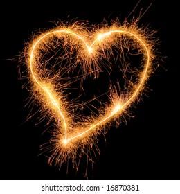 Sparkler heat heart. Good design element for wedding, Saint Valentine card, etc. Very big size.