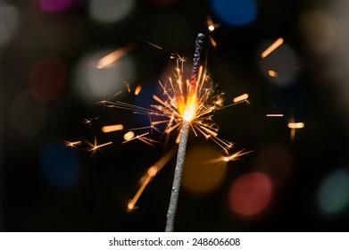 Sparkler on a dark background