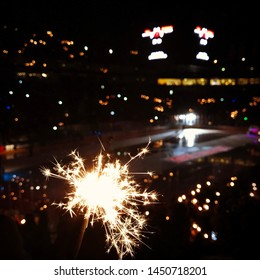 Sparklers during the intro before a hockey game