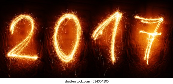 Sparklers numbers new year sign background
