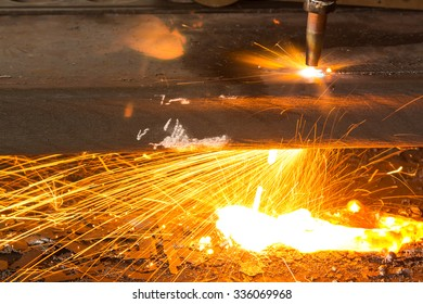 Sparkles, Fire gas cutting slab, Industry steel background.