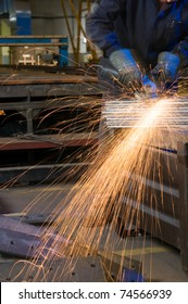 Sparkles made by electric grinder - a series of METAL INDUSTRY images.