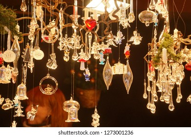 Sparklig glass Christmas ornaments at the Christmas market,Cologne, Germany