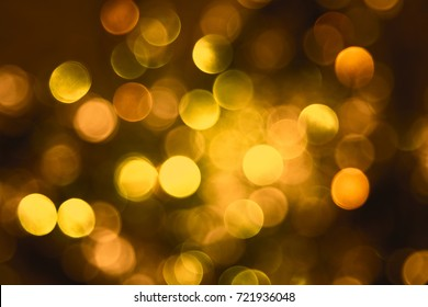 Sparkling Bronze Lights Background, Party Or Christmas Texture