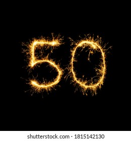 Sparkling burning 50 number isolated on black background. Beautiful Glowing golden overlay object fifty number for design holiday greeting card, billboard and Web banner
