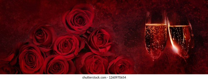 Sparkling champagne and red roses for valentine day