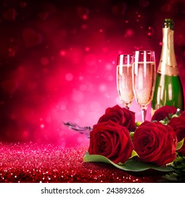 sparkling valentine�s day with champagne and roses
