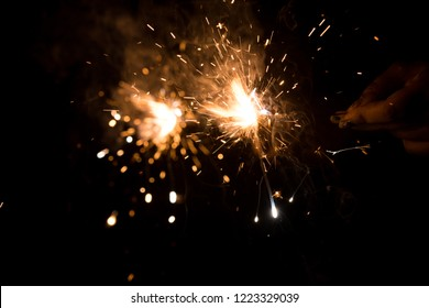Sparkling firecrackers on diwali celebration