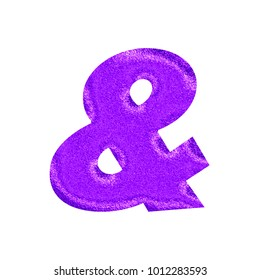 Sparkling glittery purple ampersand or and sign symbol in a 3D illustration with a shiny glitter style surface and basic bold font isolated on a white background with clipping path.