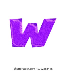 Sparkling glittery purple lowercase or small letter W in a 3D illustration with a shiny glitter style surface and basic bold font isolated on a white background with clipping path.