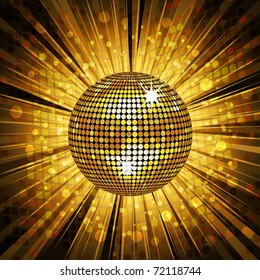 Sparkling gold disco ball on a light burst background with mosaic detail