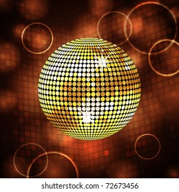 Sparkling gold disco ball on a mosaic background with lens flares