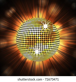 Sparkling gold disco ball on an exploding light background