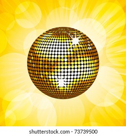 Sparkling gold disco ball on a glowing background